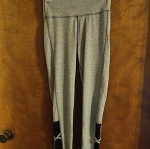 Grey leggings with mesh criss cross
